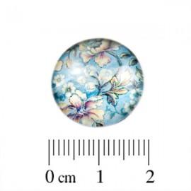 Glas Cabochon Bloem blauw 18mm
