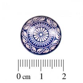 Glas Cabochon blauw wit 18mm