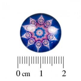 Glas Cabochon blauw rose 18mm