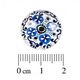Glas Cabochon wit blauw 18mm