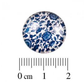 Glas Cabochon Bloemetjes blauw 18mm
