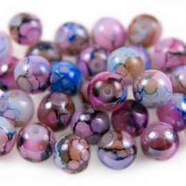 Glaskralen 8mm Gemêleerd Roze Blauw