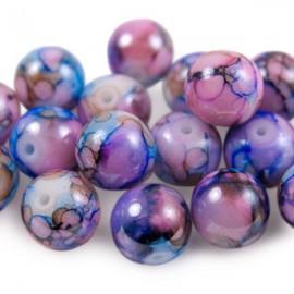 Glaskralen 10mm Gemêleerd Roze Blauw