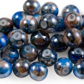Glaskralen 8mm Gemêleerd Blauw Bruin
