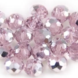 Facet Rondel 8x6mm Light Pink Silver