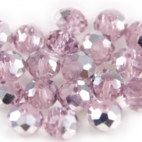 Facet Rondel Light Pink Silver