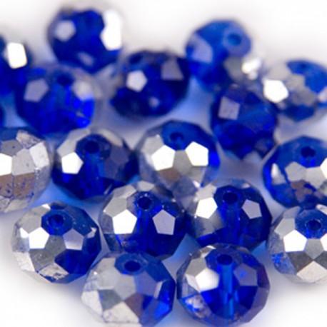 Facet Rondel Blue Silver