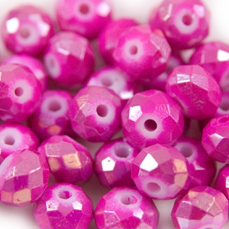 Facet Rondel 8x6mm Fuchsia AB