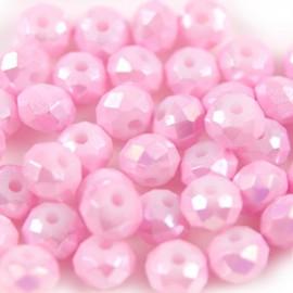 Facet Rondel 6x4mm Pink AB