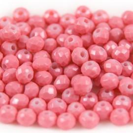 Facet Rondel Vintage 4x3mm Rouge Pink