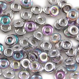 O Bead Crystal Silver Rainbow