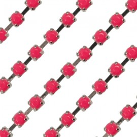 Cup chain zilver 3mm Opaque Indian Pink