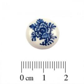 Cabochon Delfts Blauw Rond Bloem ±15mm