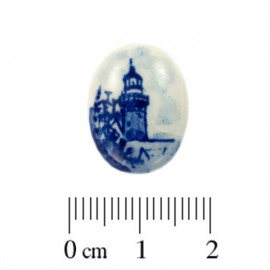 Cabochon Delfts Blauw Ovaal Vuurtoren ±19x14mm