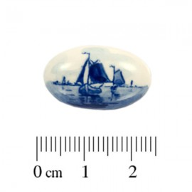 Cabochon Delfts Blauw Ovaal Zeilboot ± 14x23mm