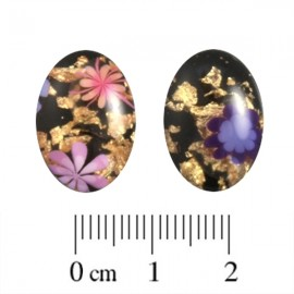 Polaris Cabochon Ovaal 13x18mm Murrine Shiny Nero