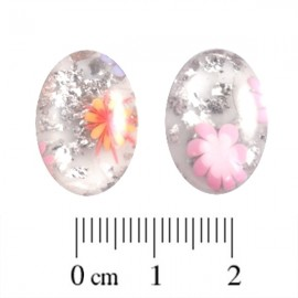 Polaris Cabochon Ovaal 13x18mm Murrine Shiny Bianco