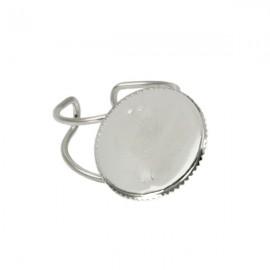 Ring Nickel Plated voor 18mm Plaksteen
