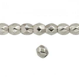 Metaal Ovaal Facet 4mm Antiek Zilver