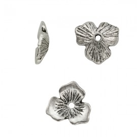 Metalen Kraal Bloem 11mm Antiek Zilver