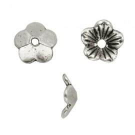 Metalen Kraal Bloem 10mm Antiek Zilver