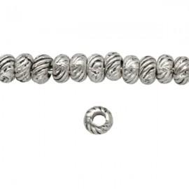 Metalen Kraal Rondel 4mm Antiek Zilver