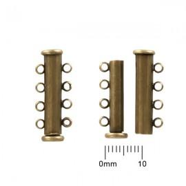 Schuifslotje Magnetisch 25mm 4-rij Brons