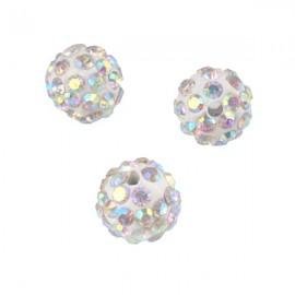 Polymeerkraal 10mm Wit/Kristal AB