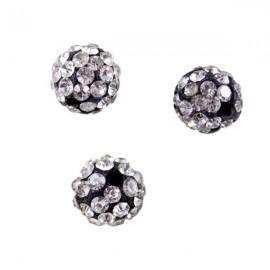 Polymeerkraal 10mm Zwart/Kristal
