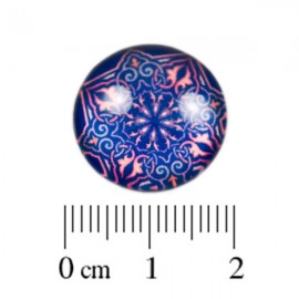 Glas Cabochon blauw koraal 18mm