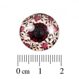 Glas Cabochon Roosje rood 18mm
