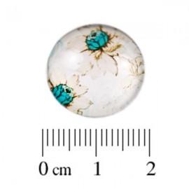 Glas Cabochon Roosje turquoise 18mm