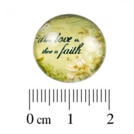 Glas Cabochon Love & Faith 18mm