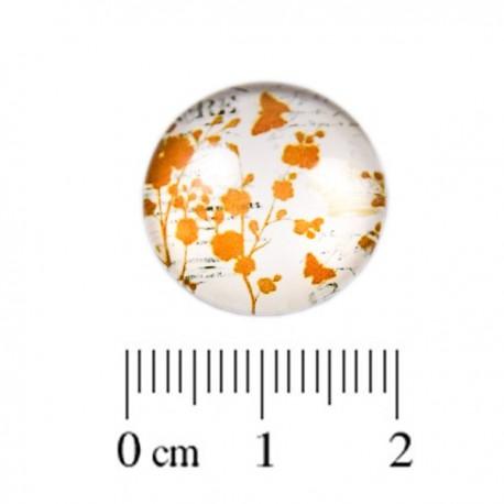 Glas Cabochon Natuur oranje 18mm