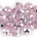 Facet Rondel 8x6mm Light Pink Silver