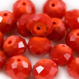 Facet Rondel 6x4mm Rood