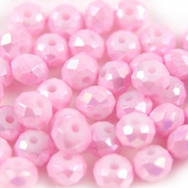 Facet Rondel 6x4mm Pink AB