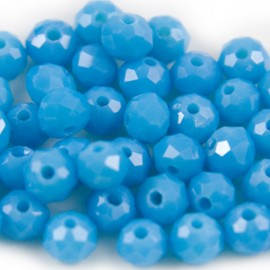 Facet Rondel 6x4mm Light Capri Blue