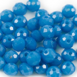 Facet Rondel 6x4mm Capri Blue