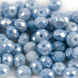Facet Rondel 6x4mm Dark Ice Blue