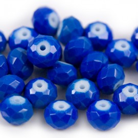 Facet Rondel Vintage 8x6mm Cobalt Blue