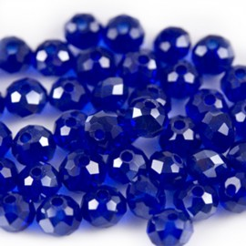 Facet Rondel 6x4mm Cobalt Blue