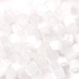 Chunky Bugles 6mm Wit Kristal Silk