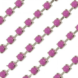 Cup chain zilver 3mm Opaque Fuchsia