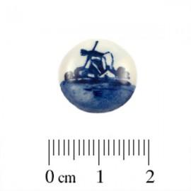 Cabochon Delfts Blauw Rond Molen ±15mm