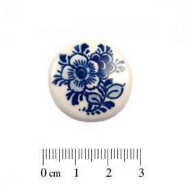 Cabochon Delfts Blauw Rond Bloem ±25mm