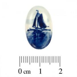 Cabochon Delfts Blauw Ovaal Zeilboot ±23x14mm