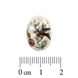 Cabochon Aardewerk Ovaal Vogel ± 17,5x12,5mm